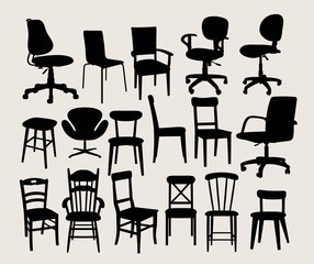 Chair Classic and Modern Silhouettes, art vector design