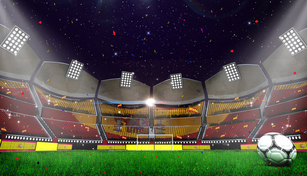 3d rendring of stadium background. Football Arena. spanish flag