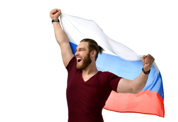 Happy man soccer fan with Russian flag  smiling celebrating isolated on white