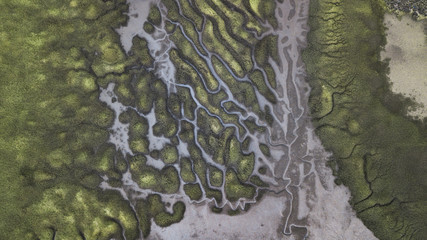 River Patterns and Bridge, Tasmanian Landscape Australia Views from the air