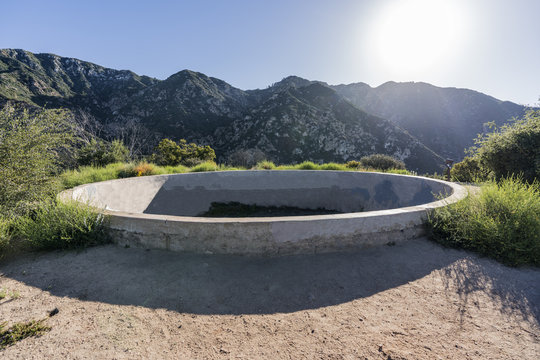 Historic resort reservoir ruin on top of Echo Mtn in the Angeles National Forest above Pasadena and Los Angeles, California.