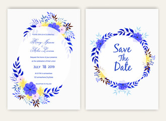 Wedding card with floral watercolor style.