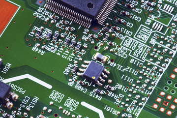abstract microchip in circuit board computer
