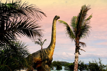 Sauropods Dinosaur  on beautiful landscape background. Wall mural