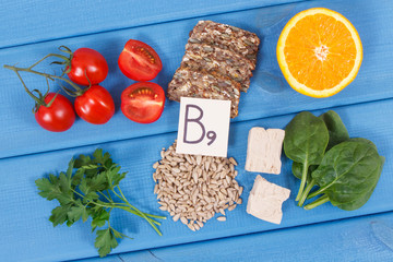 Nutritious products containing vitamin B9 and dietary fiber, healthy nutrition concept