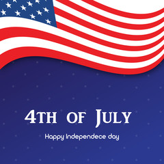 4th July. Happy Independence day greeting card. Vector