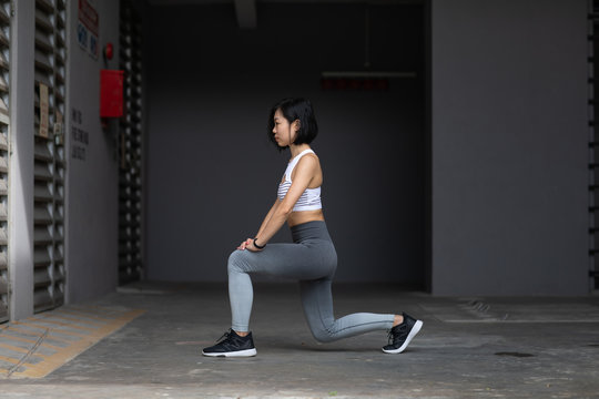 Young woman in a lunge