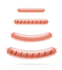 Set of realistic grilled sausages. Vector illustration isolated on white background. Can be use for your design, presentation, promo, adv. EPS10.