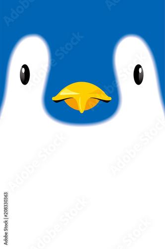 皇帝ペンギンの顔のイラストコウテイペンギンのヒナのイラスト素材