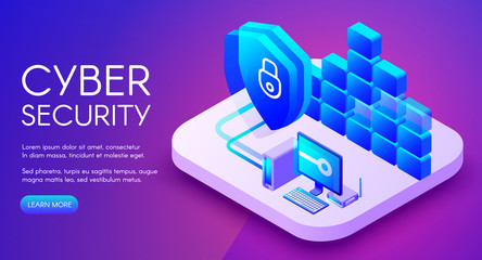 Cyber security technology vector illustration of private network secure access and internet firewall. Personal data encryption with VPN for safe computer online on purple ultraviolet background