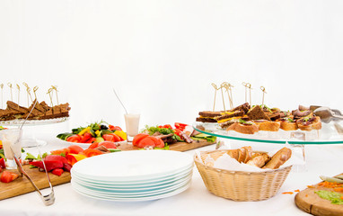 snacks on a buffet table