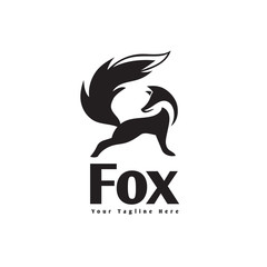 elegant stand fox logo with confident