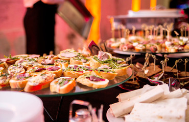 Snack on a buffet table during a party