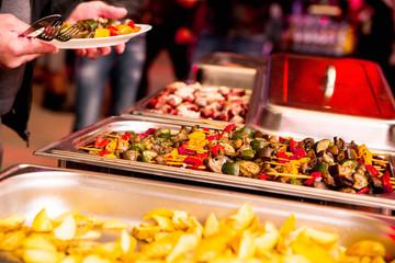 shish kebab from vegetables as a garnish at a party