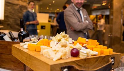 cheese assortment as a snack on the table