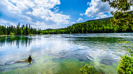 Clearwater Lake in Wells Gray Provincial Park, British Columbia, Canada . The lake is high up in the Cariboo Mountains and feeds the Clearwater River and then the Thompson River Wall mural