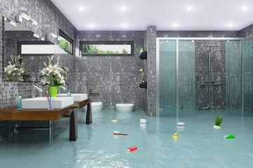 Überschwemmtes modernes Badezimmer - Bad - Dusche - Wasserschaden - Havarie - Hochwasser