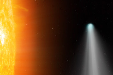 "Comet on the space""Elements of this image furnished by NASA """