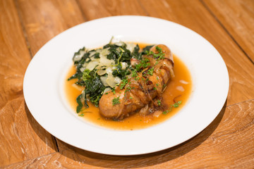 Grilled sausage with Cheesy Creamed Spinach