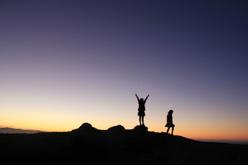 Two People Silhouette, New Zealand