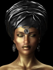 3D illustration African woman wearing headscarf