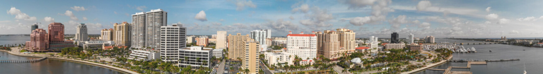 Palm Beach skyline, Florida. Panoramic aerial view from drone at sunset