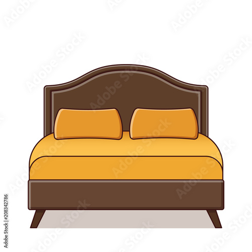 Double Bed Vector Outline Furniture Icon In Flat Design Linear