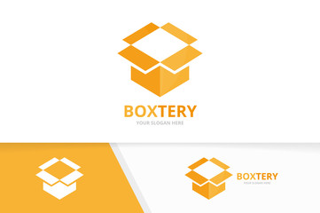 Vector box and post logo combination. Package and surprise symbol or icon. Unique delivery logotype design template.