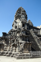 Angkor Cambodia,  preserved 12th century Angkor Wat temple with steep staircase