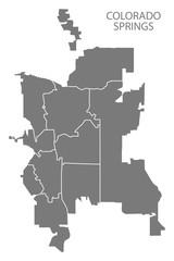 Colorado Springs CO city map with neighborhoods grey illustration silhouette shape