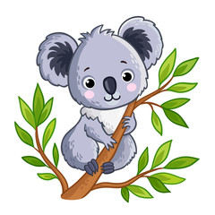 Cute panda sitting on a tree. Vector illustration with an animal in a children's and cartoon style.