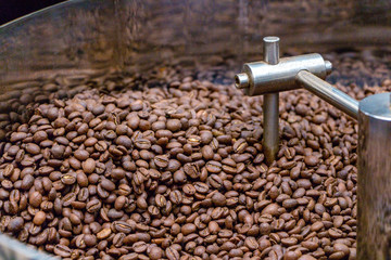 Coffee beans are cooled in the mixer after roasting