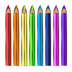 Color pencils, icon, children's drawing style.