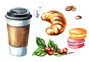 Coffee to go set. Paper cup and traditional french cake macaroon, croissant, coffee branch and bean. Watercolor hand drawn illustration, isolated on white background