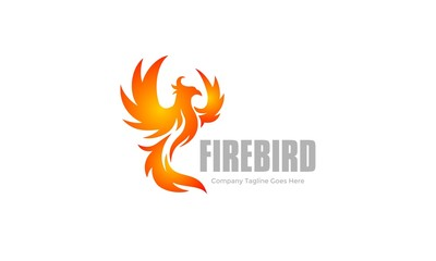 Flame Bird - Fire Wing Logo - Phoenix Vector