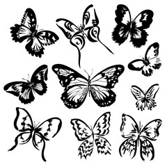 Set of 10 hand drawn butterflies. Vector silhouettes