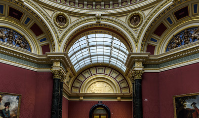 National Gallery, London. Inside view showing ornate and splendid walls and ceilings.