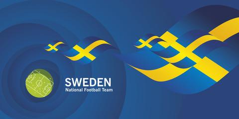 Sweden flag soccer football team abstact stadium background