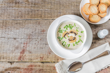 Cheese cream soup with mushrooms. The view from the top. Copy-space.