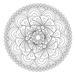 Flower Mandala vector illustration. Oriental pattern, vintage decorative elements. Islam, Arabic, Indian, moroccan, turkish ottoman motifs Coloring page