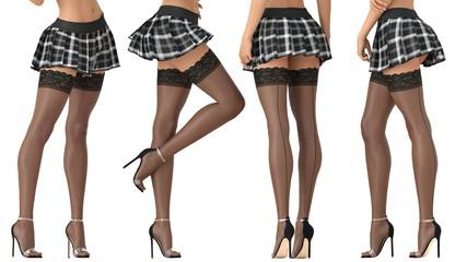 3D illustration short skirt black stockings