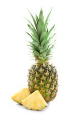 Fresh ripe pineapple on white background