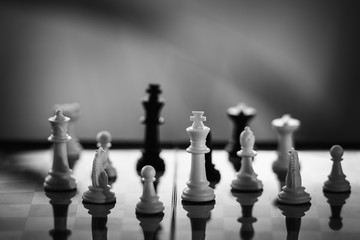 Chess on a Board of wood. bokeh nature background.  game, strategy, management or leadership concept .