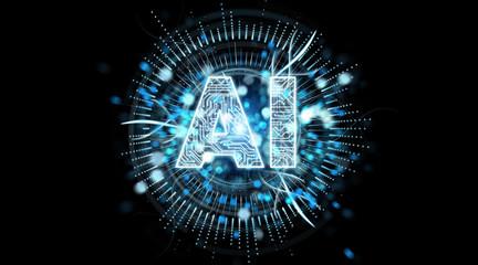 Digital artificial intelligence text hologram 3D rendering
