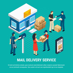 Mail Delivery Service Isometric Composition