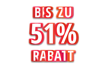 bis zu 51% Rabatt - weißer Hintergrund rote Schrift für Symbol / Schild