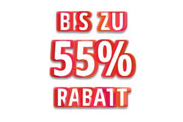 bis zu 55% Rabatt - weißer Hintergrund rote Schrift für Symbol / Schild