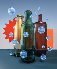 3d creative glass world composition with color bottles and blue bubbles still life on sky background illustration