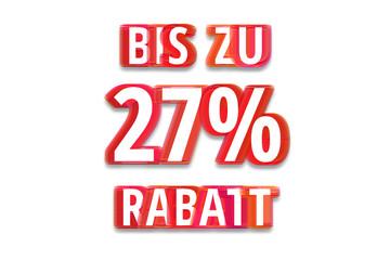 bis zu 27% Rabatt - weißer Hintergrund rote Schrift für Symbol / Schild