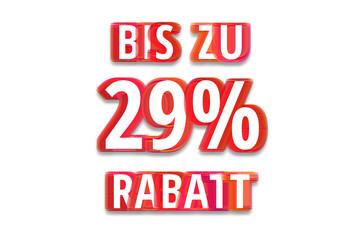 bis zu 29% Rabatt - weißer Hintergrund rote Schrift für Symbol / Schild